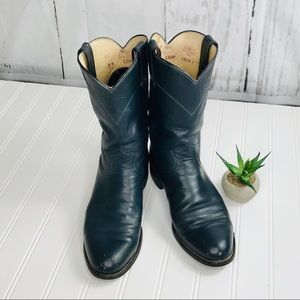 Justin Navy Blue Leather Cowboy Boots USA size 8